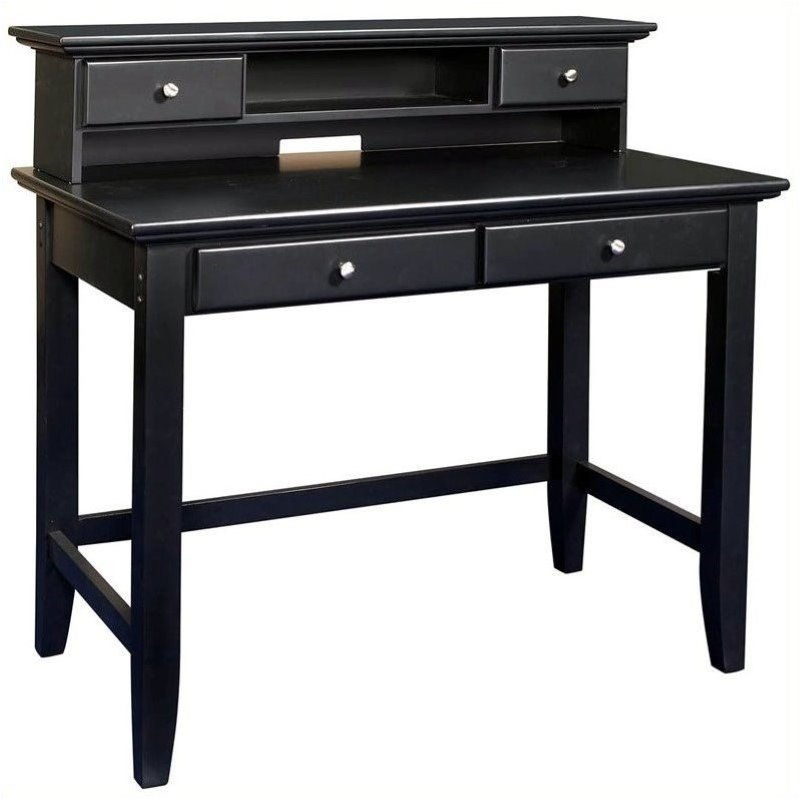 Bowery Hill Solid Wood Laptop Writing Desk with Hutch in Ebony