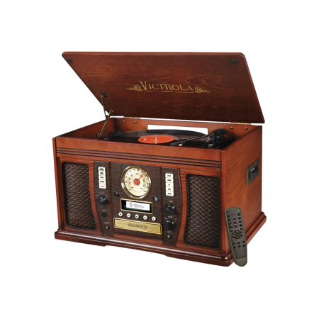 Victrola Wood 7-in-1 Nostalgic Bluetooth Record Player with CD Encoding and 3-speed