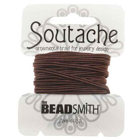 Soutache Cord - BeadSmith Soutache Braided Cord 3mm Wide - Beaver Brown (3 Yard Card)