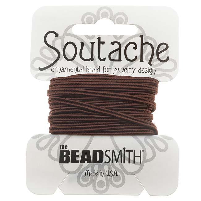 BeadSmith Soutache Braided Cord 3mm Wide - Beaver Brown (3 Yard Card)