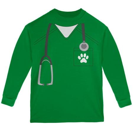 Halloween Vet Veterinarian Scrubs Costume Green Youth Long Sleeve - Vet Costume