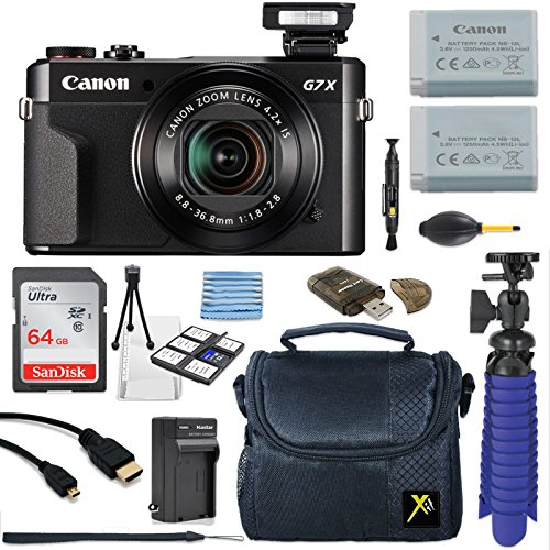 Canon PowerShot G7 X Mark II 20.1MP 4.2x Optical Zoom Digital Camera + 64GB Memory Card + Deluxe Camera Case + HDMI Cable + Spider Tripod + Premium Accessories Bundle