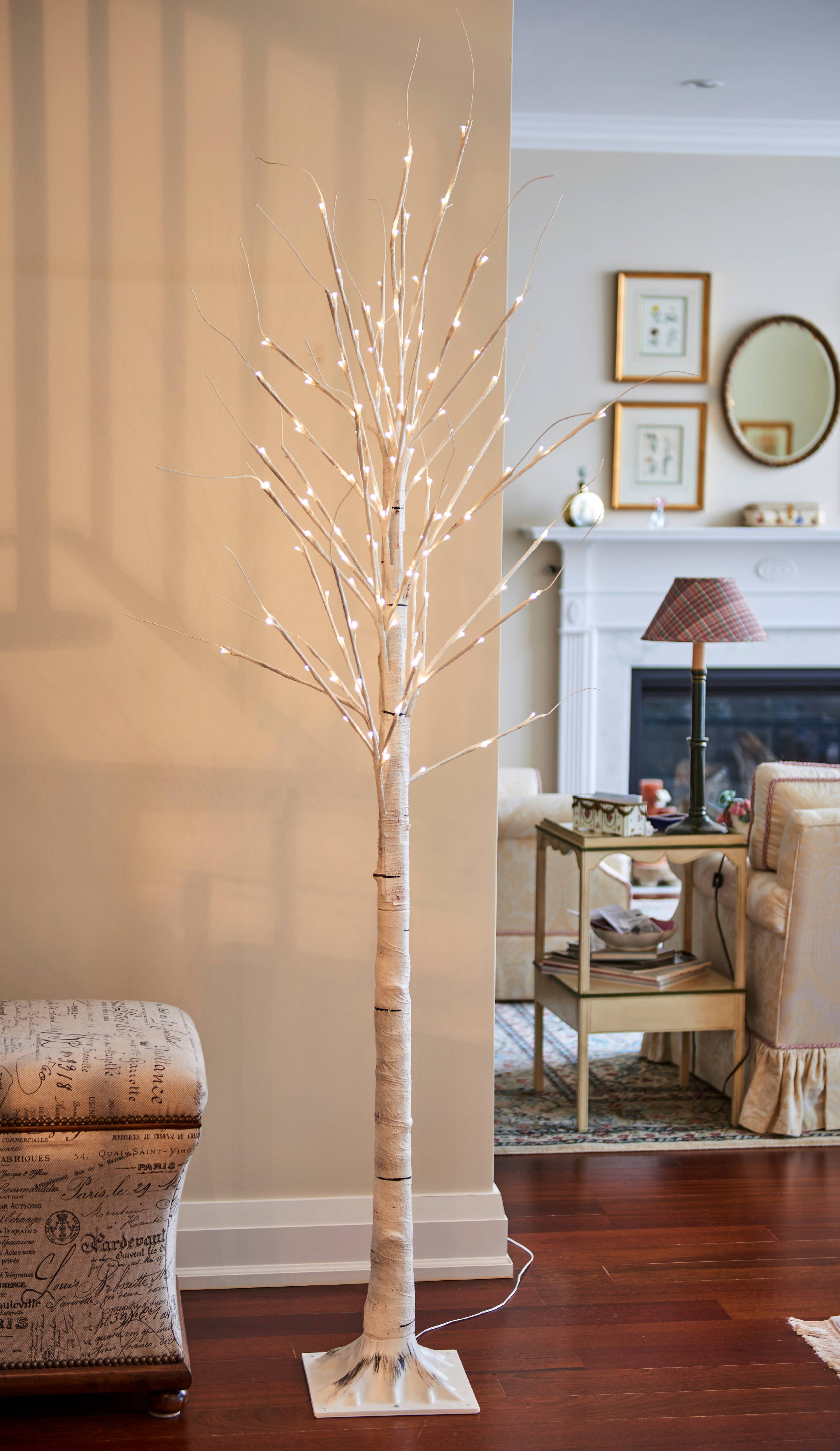 Birch Tree On Metal Base In Outdoor 120 Led 83 Inch High With 8 Lighting Modes