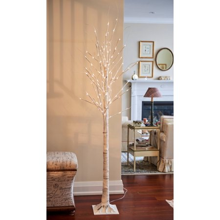 Led Metal Gear - BIRCH TREE ON METAL BASE IN/OUTDOOR 120 LED 83 INCH HIGH WITH 8 LIGHTING MODES