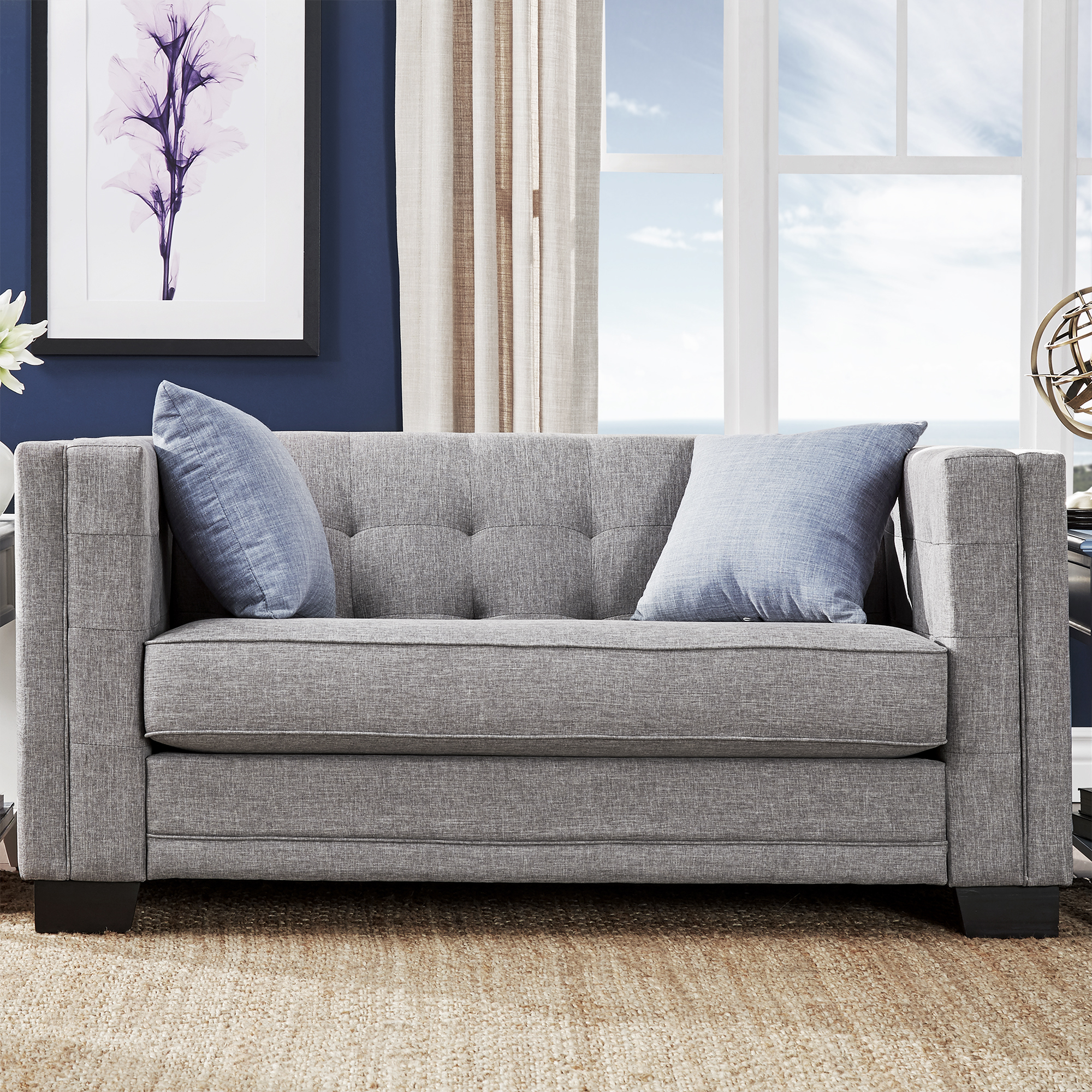 Chelsea Lane Tufted Love Seat, Gray Linen