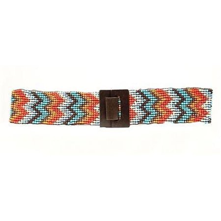 Large Multi Colored (Womens Wide Stretch Chevron Belt, Multi Colored - Large & Extra Large )