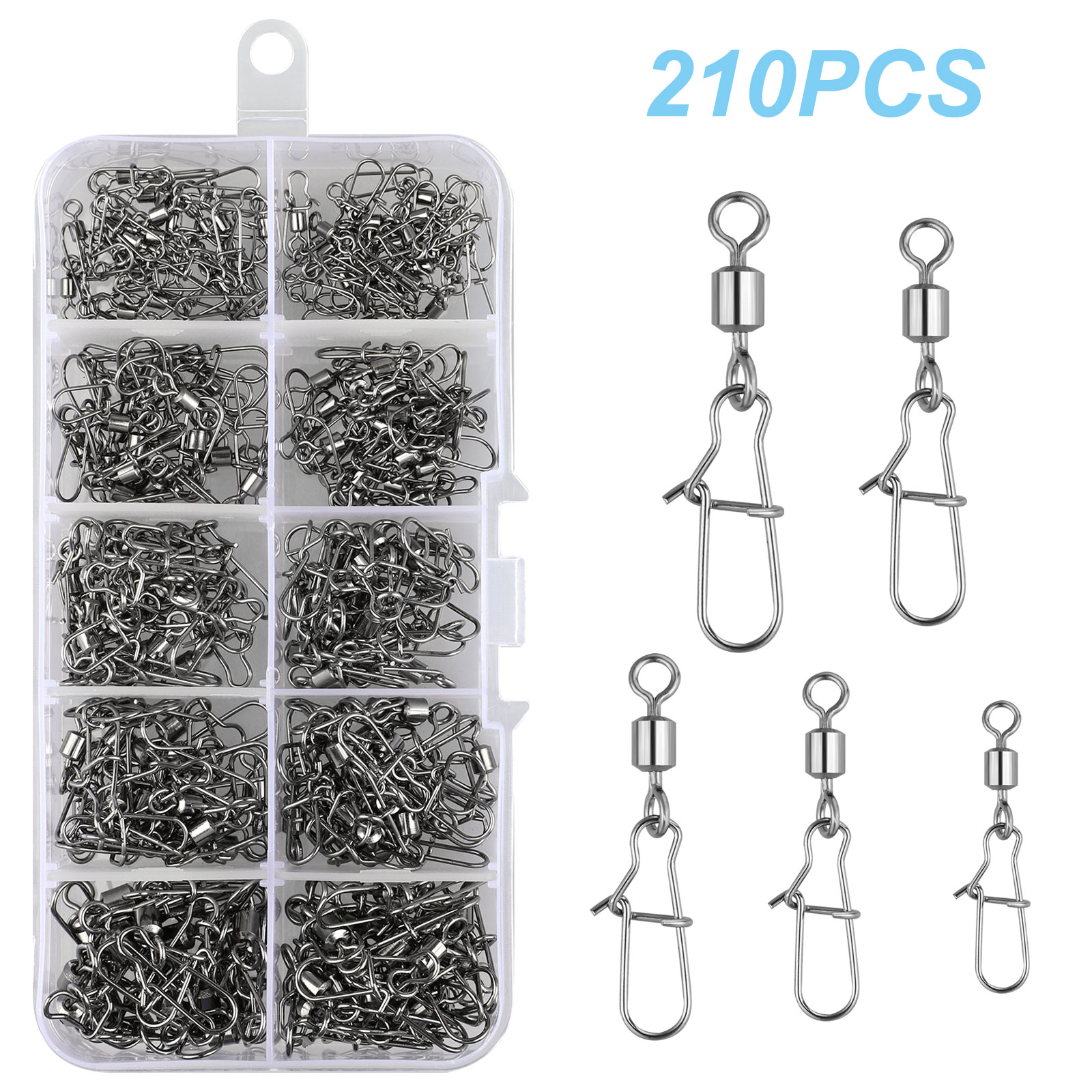 210Pcs Rolling Fishing Swivels with Snaps Fishing Rolling Swivels Connectors