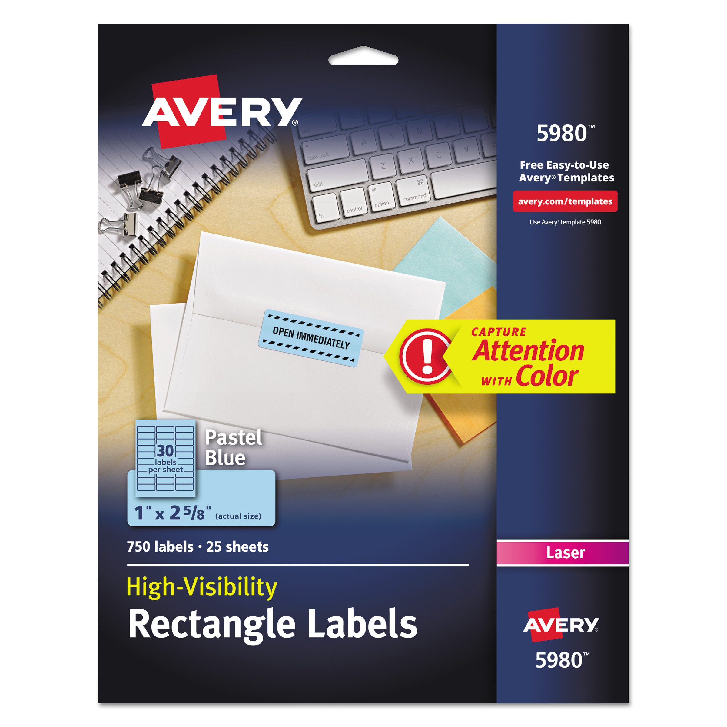 "Avery 750pk High-Visibility Laser Labels 5980, Pastel Blue, 1"" x 2-5/8"""