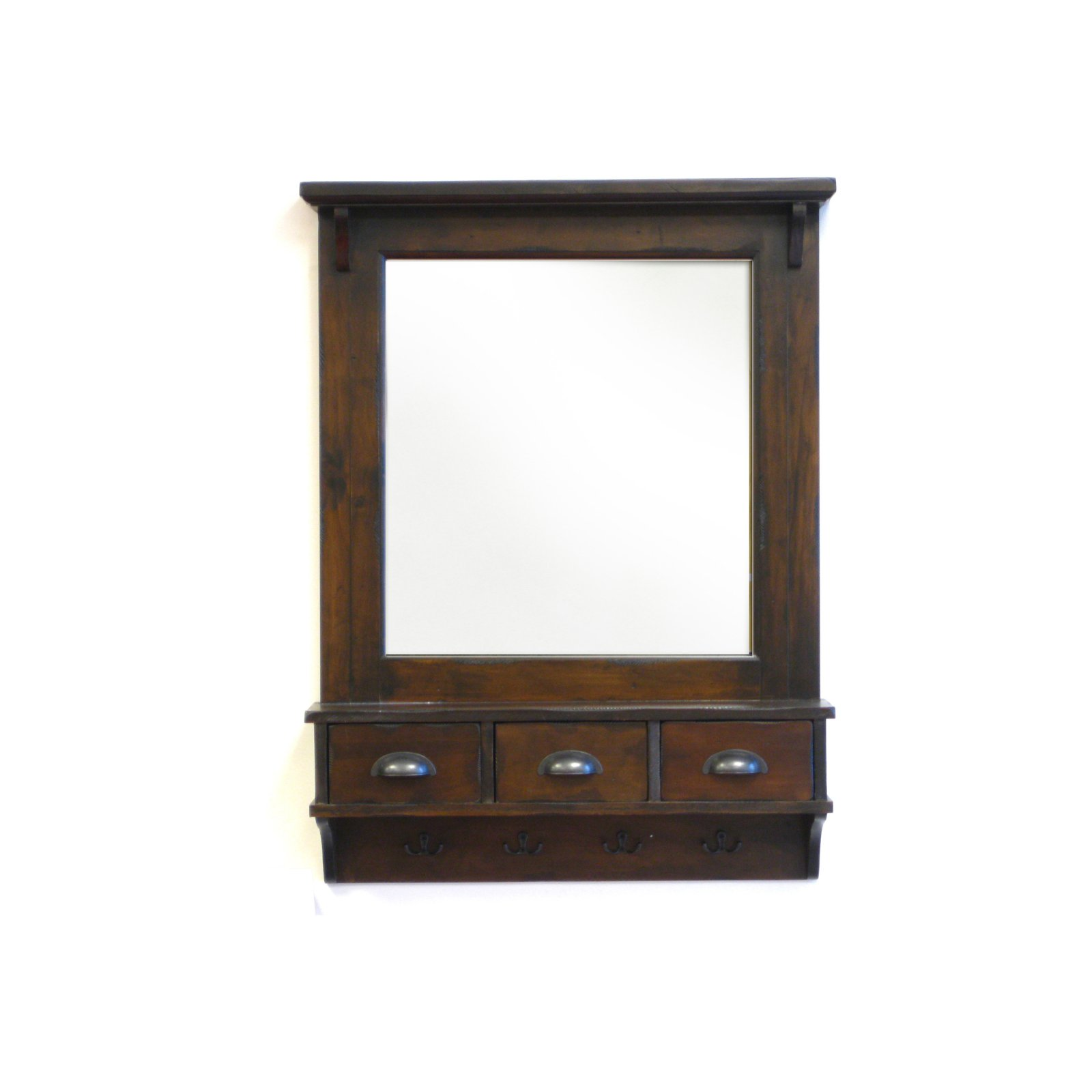 Click here to buy Bombay Wall Mirror w  Drawer Storage & Hooks 27W x 37H in. by Proman Products.