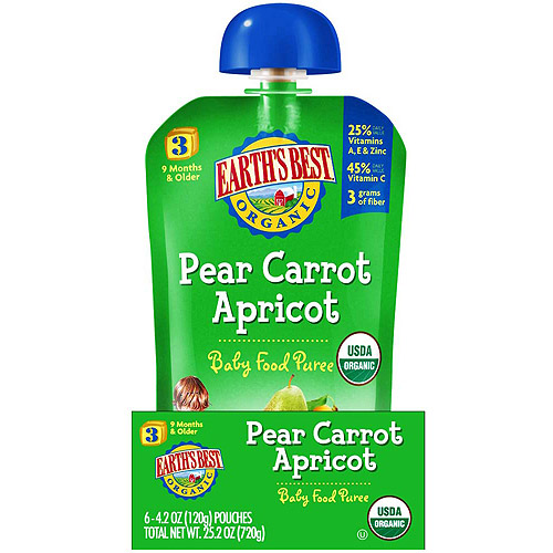 Earth's Best Organic Pear Carrot Apricot Stage 3 Baby Food Puree, 4.2 oz