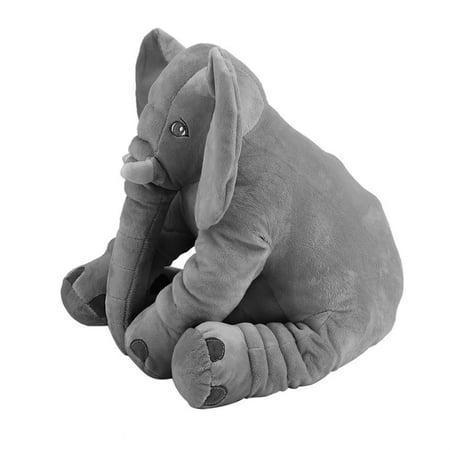 Filled Stuffedanimals Stuffed Animal Cushion Kids Baby Sleeping Soft Pillow Toy Cute Elephant Shape Cotton Doll Stuffed & Plush Soft Gray