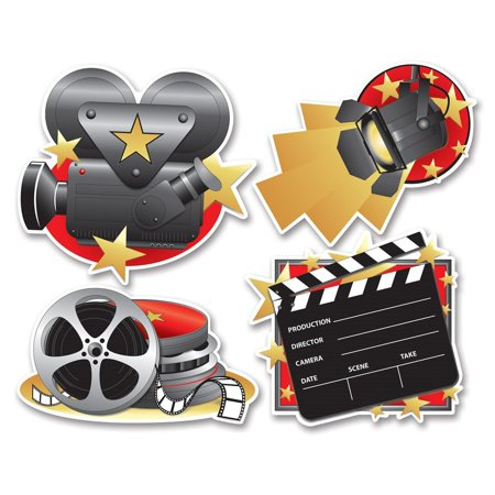 Movie Cutouts (Club Pack of 48 Mutli-Colored Hollywood Themed Movie Set Cutout Decorations)