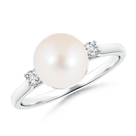 fccb86f2cc0103 Angara - June Birthstone - Ball Shaped Freshwater Cultured Pearl Solitaire  Ring with Diamond Accents in 14K White Gold (8mm Freshwater Cultured Pearl)  ...