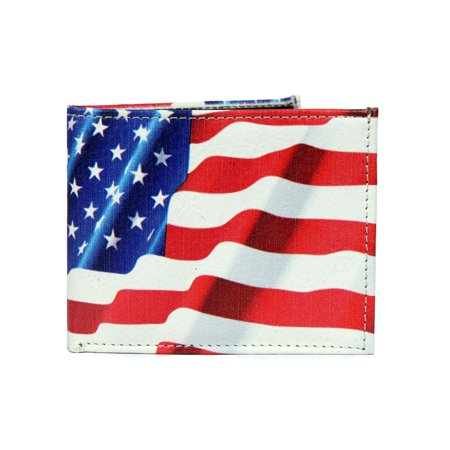 Star Card Holder - Mens USA Flag Stars and Stripes Wallet Credit Card Holder and ID Display