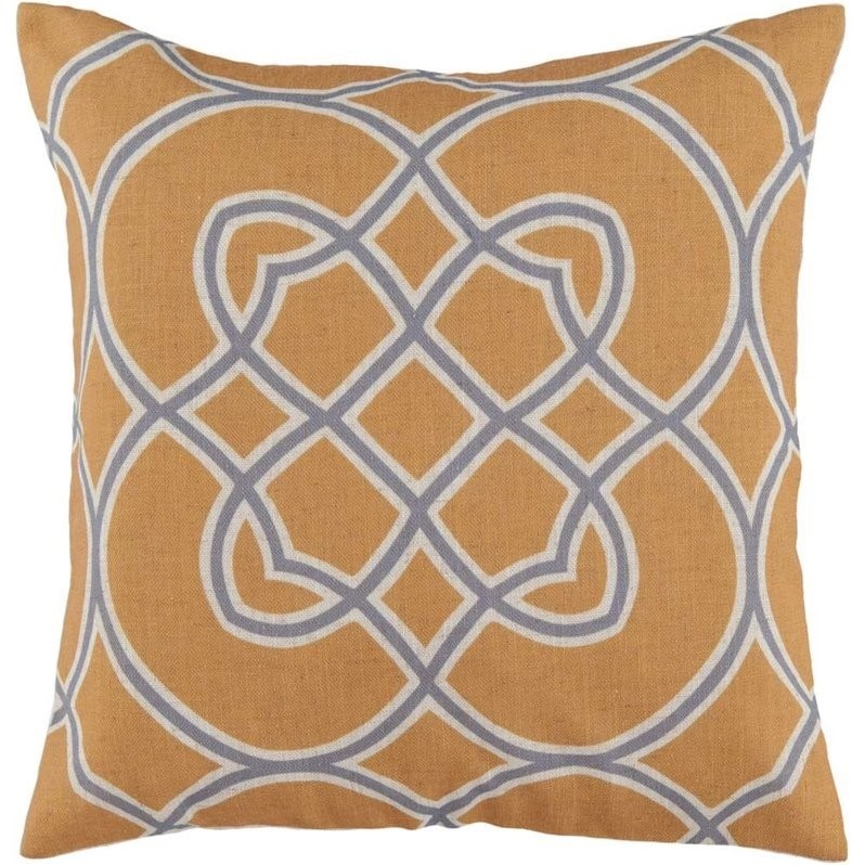 """Surya Jorden Down Fill 18"""" Square Pillow in Yellow and Gray"""