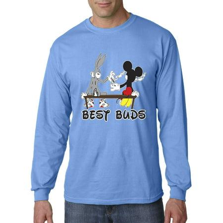 006 - Unisex Long-Sleeve T-Shirt Best Buds Smoking Bench Mickey Bugs