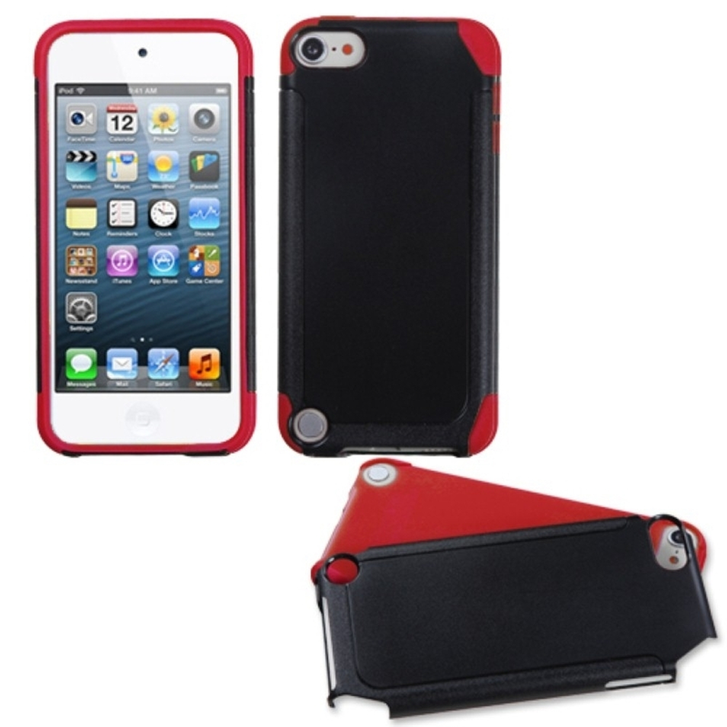 Insten Black/Red Frosted Fusion Case for iPod touch (5 5G 5th 6 6G 6th Gen)