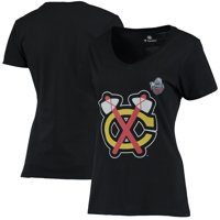 Chicago Blackhawks Women's 2017 Winter Classic Vintage Logo V-Neck T-Shirt - Black