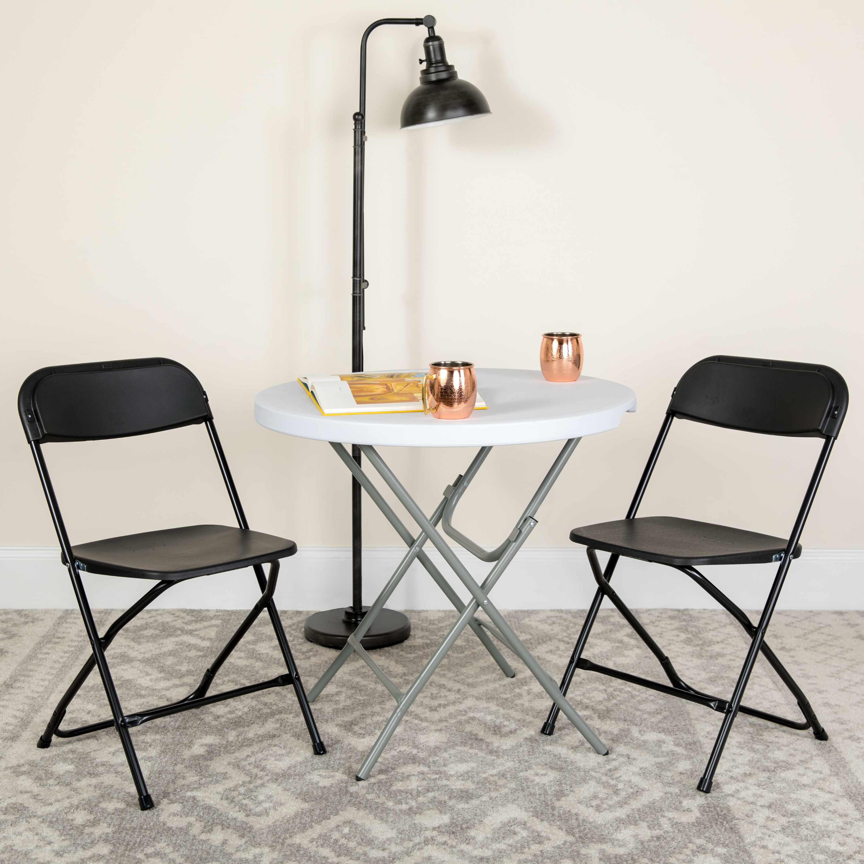 Flash Furniture 10 Pack Hercules Series Premium Plastic Folding Chair Black Walmart Com Walmart Com