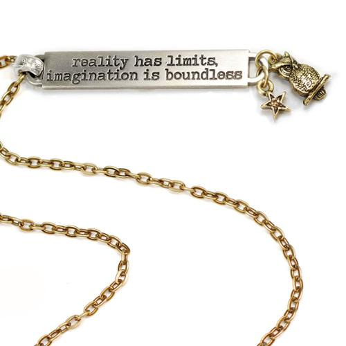 Sweet Romance  Motivational Quote 'reality has limits, imagination is boundless' Inspiration Necklace