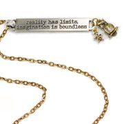 Sweet Romance  Pewter Crystal 'Imagination is Boundless' Inspirational Bar Necklace