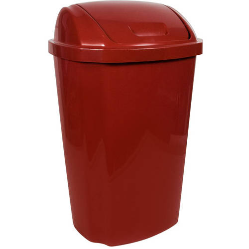 Hefty 13.5 Gallon Swing Lid Trash Can, Red