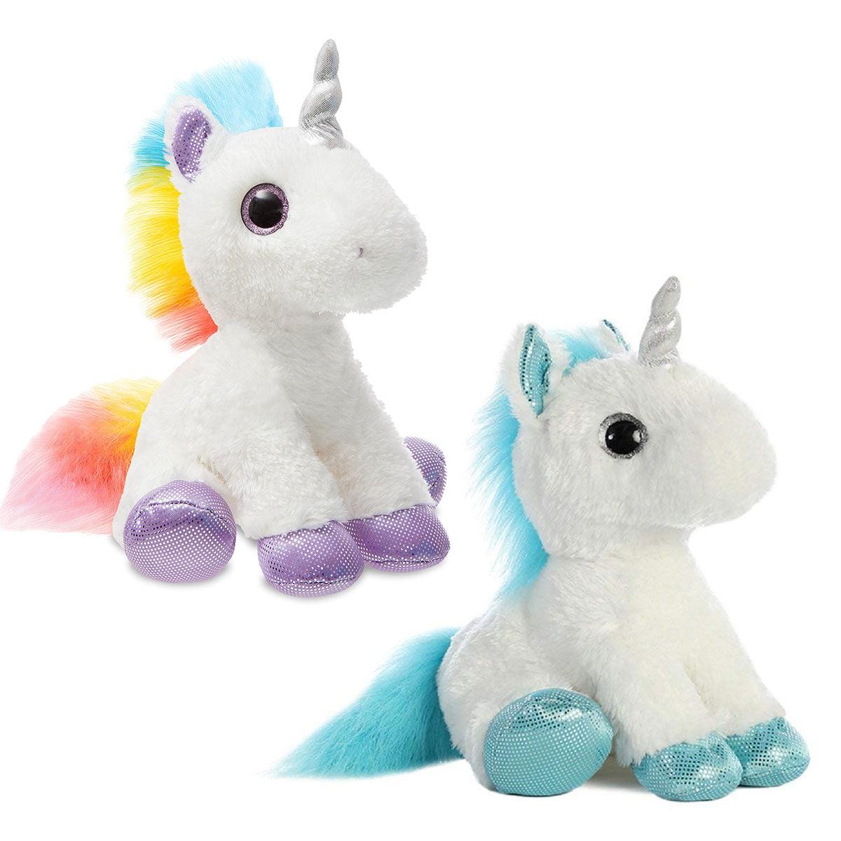 "RAINBOW and FROSTY Unicorn- Two pack Combo Mid-Size stuffed animal- 12"" Flopsie- Aurora"