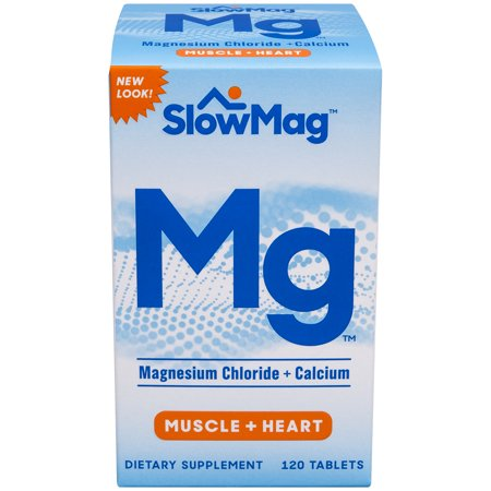 (2 Pack) SlowMag Magnesium Chloride + Calcium Tablets, 120 Ct