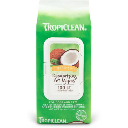 - TropiClean Hypo Allergenic Deodorizing Pet Wipes, 100 Ct