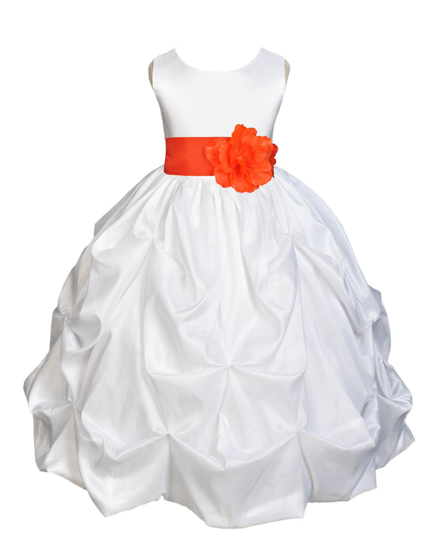 Ekidsbridal Taffeta Bubble Pick-up White Flower Girl Dress Weddings Summer Easter Dress Special Occasions Pageant Toddler Girl's Clothing Holiday Bridal Baptism Junior Bridesmaid First Communion 301S
