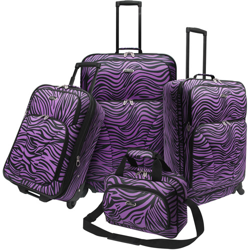 U.S. Traveler Fashion 4-Piece Zebra Spinner Luggage Set, Multiple Colors