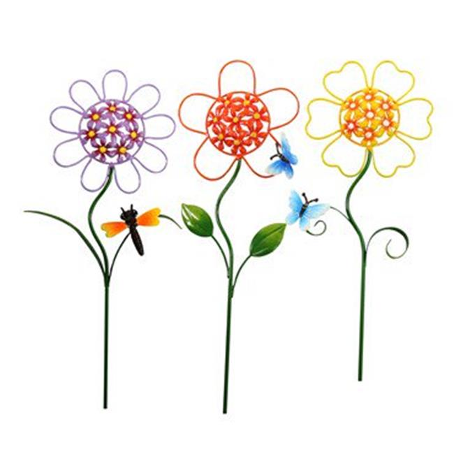 Alpine QEL208A Metal Sunflower Garden Stakes Pack Of 18