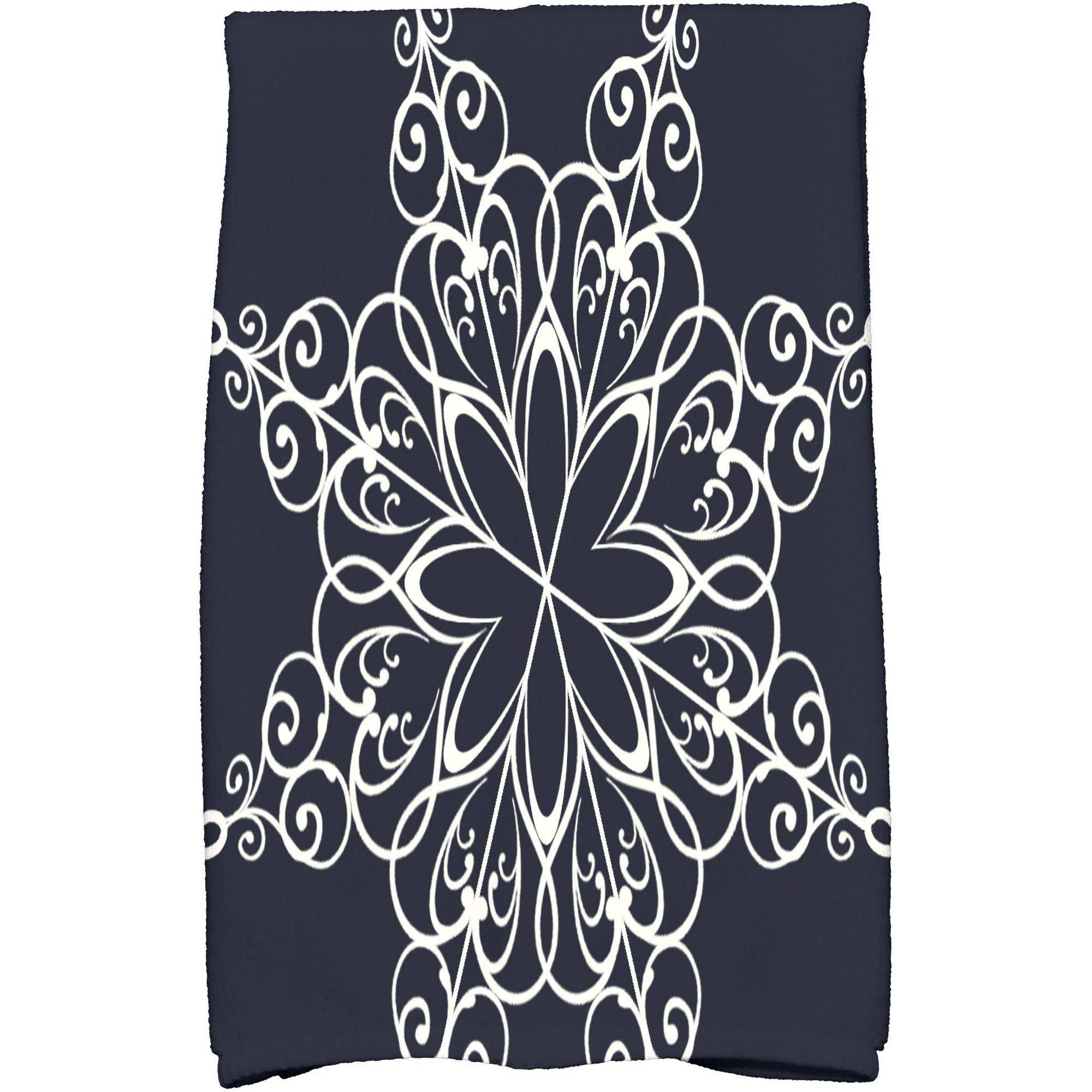 "Simply Daisy 16"" x 25"" Snowflake Holiday Geometric Print Kitchen Towel"