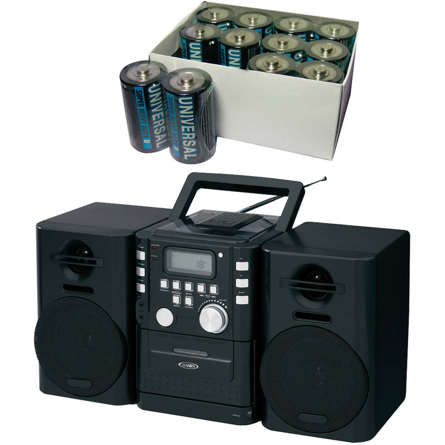Jensen CD-725 CD Music System with Cassette and FM Stereo Radio, Includes 12 D Batteries
