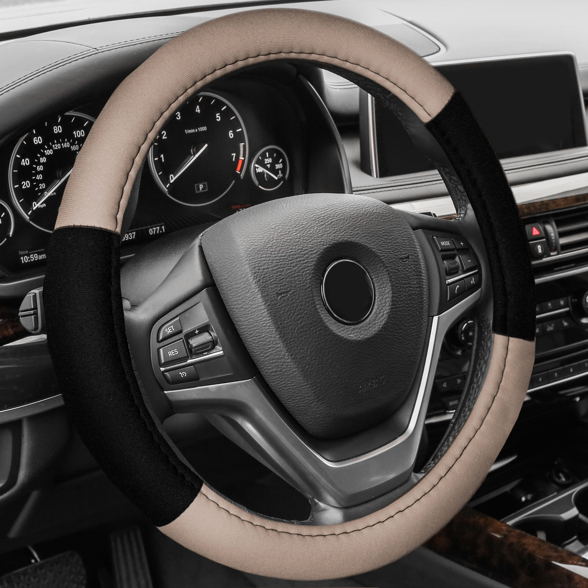 FH Group Cloth Steering Wheel Cover for Sedan, SUV, Van, Cloth Steering Wheel Cover, Beige Black