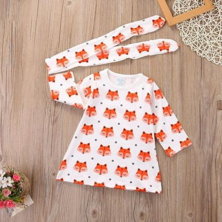 2PCS Set Newborn Infant Baby Girl Long Sleeve Fox Dress Headband Clothes Outfits - Fox Head Coupon Codes