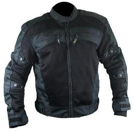 Cordura Mesh Motorcycle Jacket (Xelement CF380 Mens Black Armored Mesh Motorcycle Jacket )