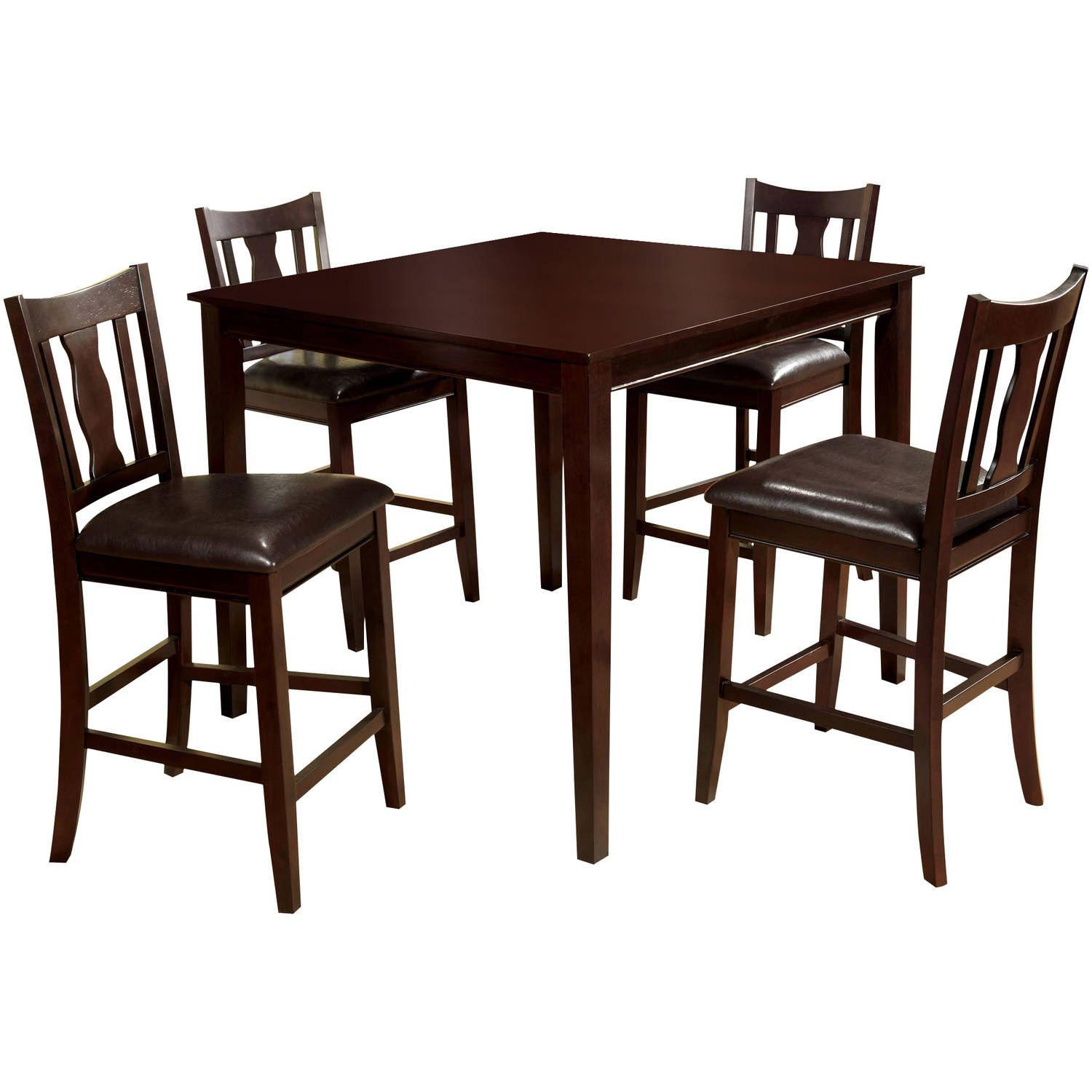 Furniture Of America Jinson Transitional 5 Piece Counter Height Dining Set,  Espresso