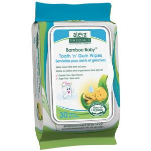 Aleva Naturals Bamboo Baby Tooth 'n' Gum Wipes, 30 Count - 30 Tooth 'n' Gum Wipes - Safely Clean Little Teeth and Gums - Formulated with Pure Plant Based Ingredients and Xylitol -