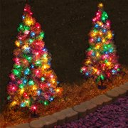 3 ft tall Christmas Pathway Tree with 70 Multi Colored LED Lights - 2 Pack