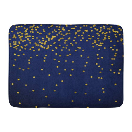 LADDKE Yellow Confetti New Year Golden on Nevy Blue Gold Polka Dots White Christmas Doormat Floor Rug Bath Mat 23.6x15.7 inch ()