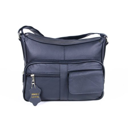 AFONiE  Genuine Leather Shoulder or Crossbody Handbag Navy blue Dark Blue Leather Handbag