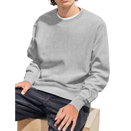 Rugby Stripe Crewneck Sweater - Mens Premium Fleece Crewneck Sweatshirt Casual Brushed Cotton Sweater