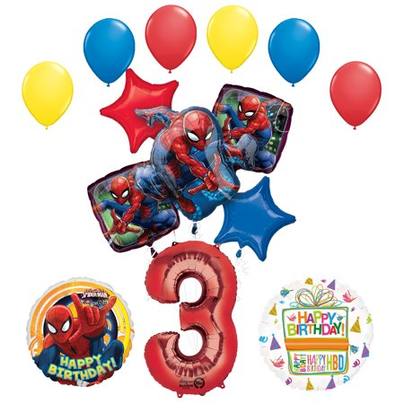 Spiderman Birthday Decorations (The Ultimate Spider-Man 3rd Birthday Party Supplies and Balloon)