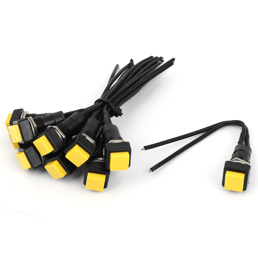 Car 10pcs Square Latching 2 Wires Push Button Switch DC 12V Yellow