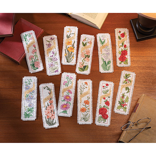 "Bucilla Counted Cross Stitch Kit 2.25""X7.75"" 12/Pkg-Flowers Bookmarks (14 Count)"