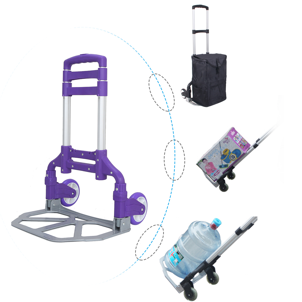 Foldable Dolly, 80KG Folding Cart Push Hand Truck Moving Warehouse Platform Trolley, Purple