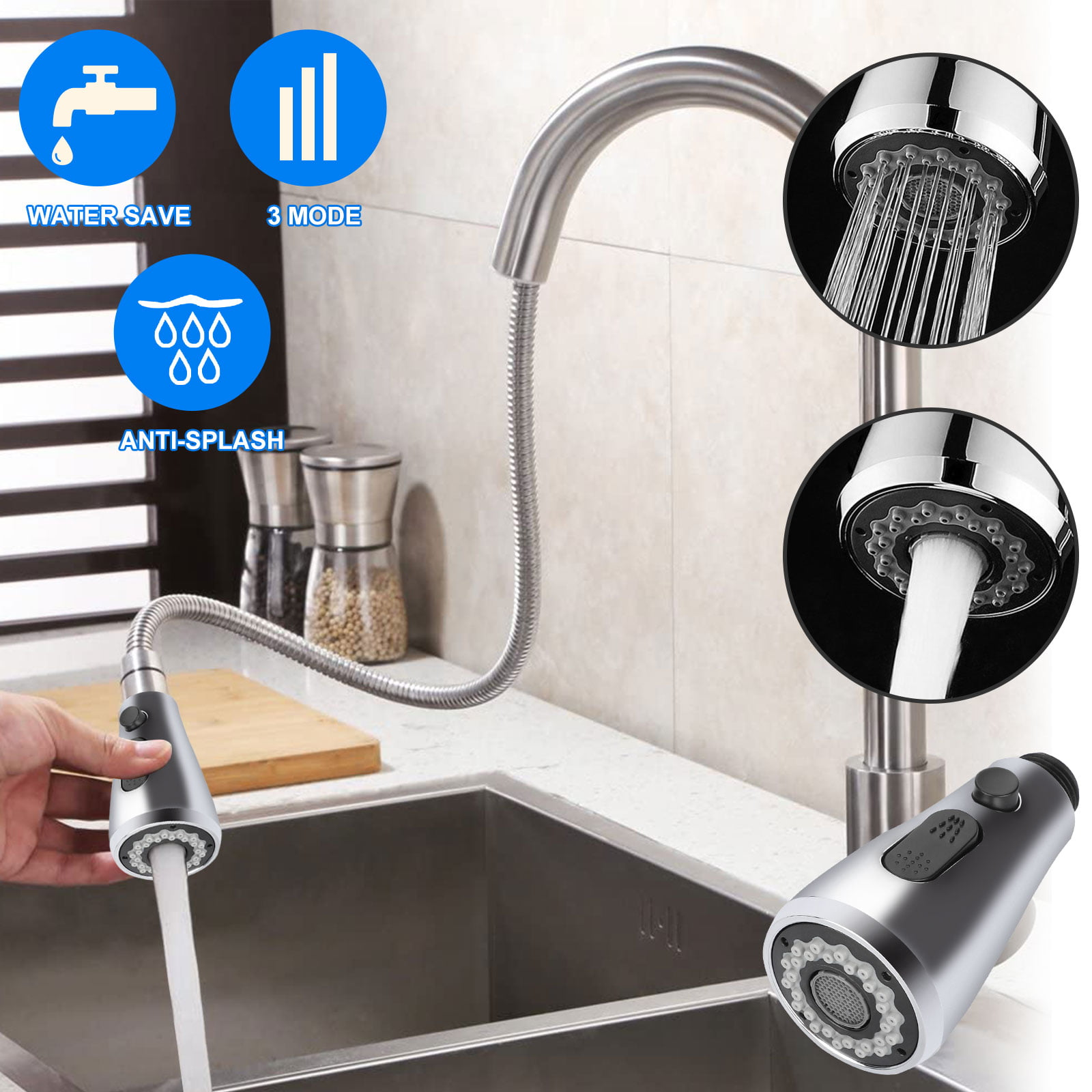 Tsv Kitchen Faucet Sprayer Head Replacement 3 Function Kitchen Sink Faucet Spray Head Replacement Head Chrome Finish Pull Down Faucet Nozzle Spout Spray Head Only For G1 2 Connector Walmart Com Walmart Com