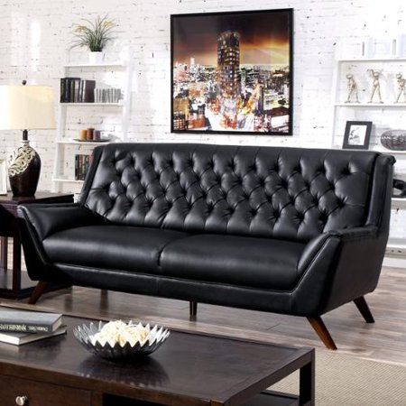 Furniture Of America Valentino Mid Century Modern Bonded Leather Sofa Black