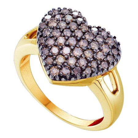Brown Diamond Bubble Heart Ring Solid 14k Yellow Gold Love Band Chocolate Round Cluster Fancy 1.00 -